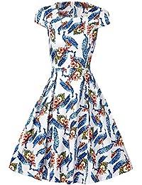 MISSMAO Retro Vestidos para Mujer 1950s Traje de Etiqueta Tela de Algodón Fiesta Vestido