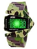 SKMEI Junge Sehr cool Uhren 7 LED Licht Uhr Sport Militär 50m Wasserdicht Armbanduhr Stoppuhr Alarm Chrono Digital Uhren (Armee-Grün)