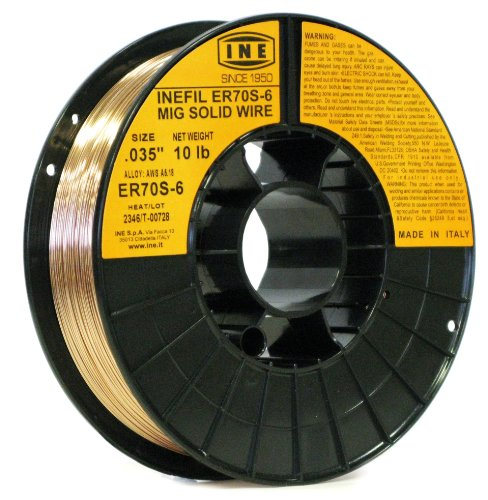 INEFIL ER70S-6 .035-Inch on 10-Pound Spool Carbon Steel Mig Solid Welding Wire by INE USA Since 1950 (10 Lb Spool)