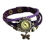 Rawdah Tessuto di modo quarzo Intorno cuoio del braccialetto della signora Woman orologio da polso (Viola)