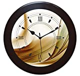 IT2M 11 inch Wood Wall Clock Round / Vintage Wall Clock / Antique Wall Clock / Silent Wooden Wall Clock For Home / Bedroom / Living Room / Kitchen / Dome Shape Glass (Non Ticking, Sweeping Movement)