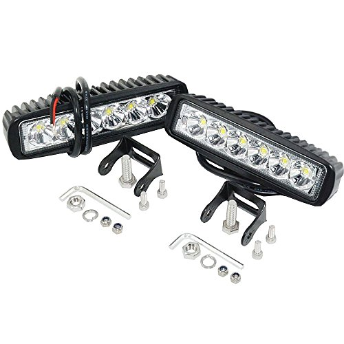 Led Zusatzscheinwerfer,JieHe 18W Led Light Bar 6inch 1800LM Arbeitsscheinwerfer Auto Led Scheinwerfer 12v 36v Arbeitslicht Led Work Light für Offroad SUV UTV ATV Traktor Bagger (2PCS)