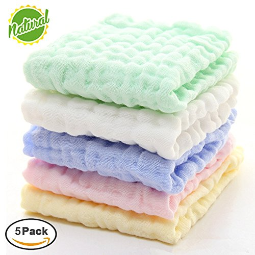Baby Muslin Washcloths – Natural Muslin Cotton Baby Wipes – Soft Newborn Baby Face Towel and Muslin Washcloth for Sensitive Skin- Baby Registry as Shower Gift, 5 Pack 10×10 inches By Mulinn 51NJdg8EFLL