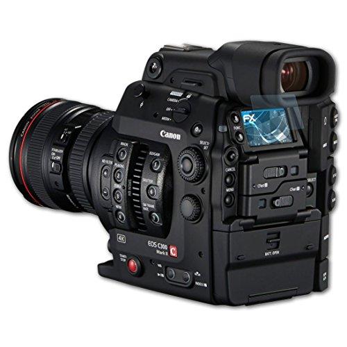 Canon EOS C300 Mark II Schutzfolie - 3 x atFoliX FX-Clear kristallklare Folie Displayschutzfolie