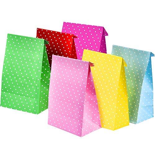 (12 Stück Party Taschen Dot Beschenkbeutel Papiertüten Einkaufstaschen Snackbox Handwerk Papier Taschen Lunch Flat Bottom Papiertüten)
