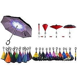– Senza marca/Generico – Ombrello inverso Reversibile Antivento Colori Casuali