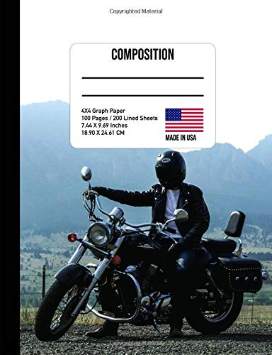 Composition Notebook: Motorcycle 4x4 Graph Paper Composition Book por One Source Books