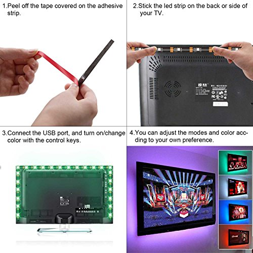 150 cm usb bande led tv r tro clairage kits rgb pour pc de bureau ansche ruban led lumineux. Black Bedroom Furniture Sets. Home Design Ideas