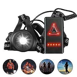 ulocool Sports Lauflicht, LED Lauflampe USB Wiederaufladbare, Wasserdicht Leichtgewichts Lampe zum Laufen, perfekt für Laufen Joggen Angeln Camping Radfahren