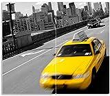 Wallario Herdabdeckplatte/Spritzschutz aus Glas, 2-teilig, 60x52cm, für Ceran- und Induktionsherde, New York Yellow Taxi II