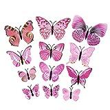 12 Stück 3D Schmetterlinge mit Sicherheitsnadel für Hochzeitskleid und Kleidung (rosa Schmetterling)