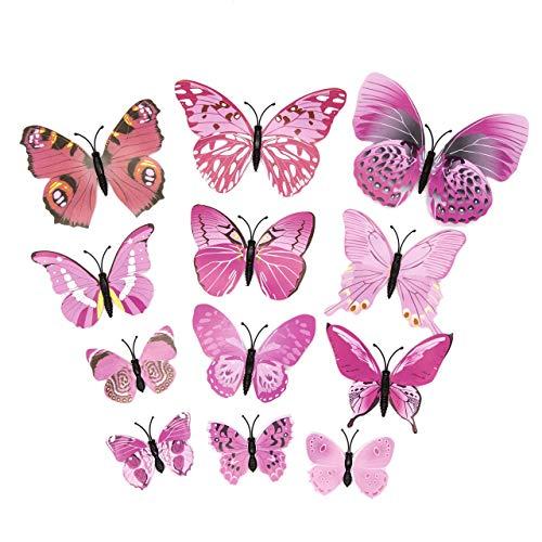 12 Stück 3D Schmetterlinge mit Sicherheitsnadel für Hochzeitskleid und Kleidung (rosa...