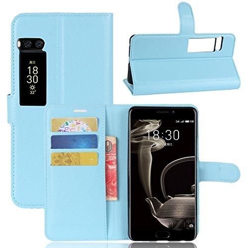 Kihying Hülle für Meizu Pro 7 Plus Hülle Schutzhülle PU Leder Flip Wallet Fashion Geschäft HandyHülle (Blau - JFC07)