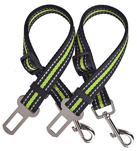 PUPTECK 2Stück Verstellbare Hundeleine Sicherheitsgurte für Auto Pet Reflektierende Sicherheit Sicherheitsgurt, Grün -