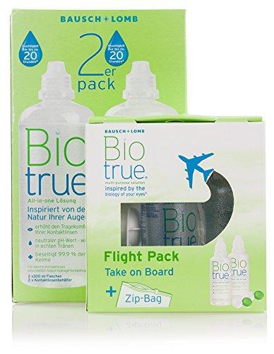 Biotrue 2x300ml inkl. Reise-Set (2x60ml) – Kontaktlinsen-Pflegemittel von Bausch+Lomb – Kombilösung für das Reinigen, Desinfizieren und Aufbewahren der Linse (All-In-One Lösung)