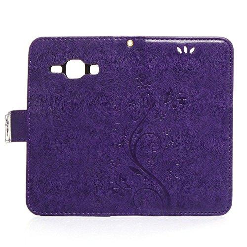 ARTLU® iphone 4s Hülle Blume Premium PU Leder Schutzhülle für iphone 4s Bookstyle Tasche Schale TPU Case mit Standfunktion Lila P1