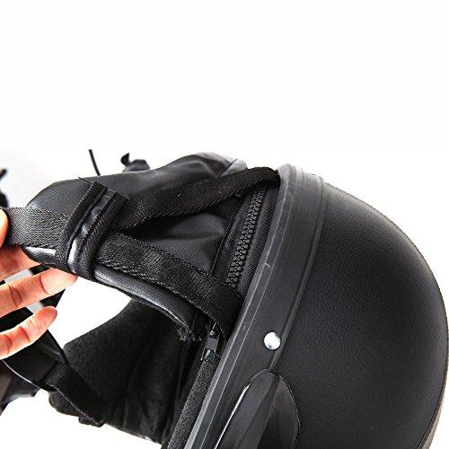 KKmoon Motorrad Scooter gesichtsoffen halbe Leder Helm mit Visier UV-Schutzbrillen Retro Vintage-Stil 54-60cm(Schwarz) - 5
