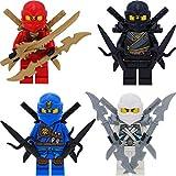 LEGO Ninjago 4er Figurenset Ultimate 8 - Kai ZX Cole Jay Zane mit 16 GALAXYARMS Waffen Schwerter