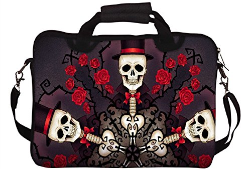 Snoogg Skeletons in Tophats and Roses 2695stampato Sleeve per laptop con tracolla da 15a 15.6