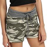 Trada Shorts, Europäische und Amerikanische Camouflage Shorts Elastische Taille Dünne Beinhosen Weiblich Trainings Yoga-Kurzschluss-Kordelzug-beiläufige Dame-Sommer Camouflage (S, Grün)