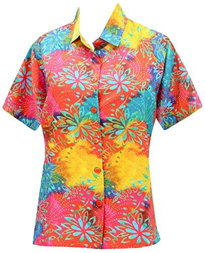 La Leela Hawaii-Hemd Blusen-Taste Nach Unten Entspannt Fit Frauen mit Kurzen Ärmeln Lager Mehr m (Unten Schwimmen Rock)