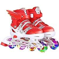 Patines En Línea Zapatos De Skate Para Niños 3-6 Patines Para Principiantes Flash Completo Ajustable Para Niños Y Niñas Deportes Al Aire Libre,Red-L