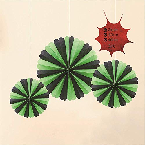 GOUPPER Party Hanging Paper Fans Round Pattern Paper Garlands Decoration Ceiling Hangings for Halloween Christmas Events Accessories, 3pcs (Green-Black) (Green-Black)