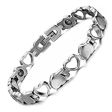 Starista Titanium Women's Magnetic Therapy Bracelet Heart Hollow Germanium Balance Wristband Christmas Gifts Valentines Gifts