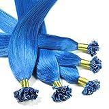 25 x 0,5g Bonding Extensions - 30cm, #blau, glatt - Keratin U-Tip Echthaar Extensions Haarverlängerung Nail Bondings