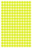 612 Klebepunkte, 10 mm, Neon gelb, aus PVC Folie, Markierungspunkte, Punkt, Vinyl, leuchtend, rund, selbstklebend