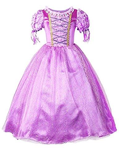 Schnee Cosplay Kostüm Weiss (Arkind Kleid Kurzarm Mädchen Prinzessin Kinder Kleid Cosplay Kostüm Fantasie Kleid Kostüm Party)