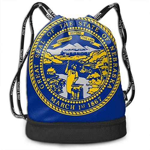 Kordelzug Taschen Sporttasche Nebraska State Flag Cute Drawstring Bags Bundle Backpack Beach String Rucksack Cinch Bag Lightweight Swiming Sackpack Unisex Gym Sports Yoga Climbing for Women Man - Nebraska Angeln