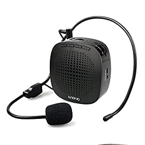 Voice Amplifier, MAONO AU-C03 Mini Rechargeable PA system (1020mAh) with Wired Microphone for Teachers, Presentations, Coaches, Tour Guides, Market Promotion (Black)
