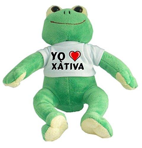 Rana de peluche con Amo Xàtiva en la camiseta (ciudad /...