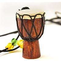 Mini tambor de yembe de 5,3 cm con cadena para colgar en el cuello, madera profesional Bongo West African Drum, instrumento musical africano tradicional, marrón