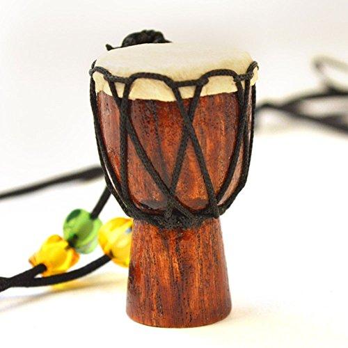 5,3cm Mini Holz Djembe mit Aufhängern Hals Kette Design, professionelle Bongo West Afrikanische Trommel, traditionelle afrikanische Musik Instrumen braun