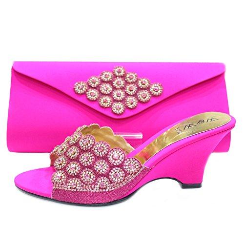 W & W femmes Mesdames cristal Diamante Mariée Mariage Chaussures et sac assorti Taille 4-10(Bahar & zahar) Rose - Rose fuchsia