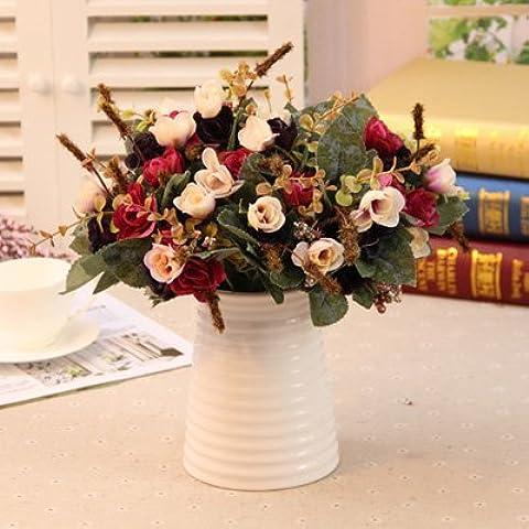 Yifom Simulación paquete tabla de sala de estar como un conjunto de flores artificiales adornos florales decoraciones,