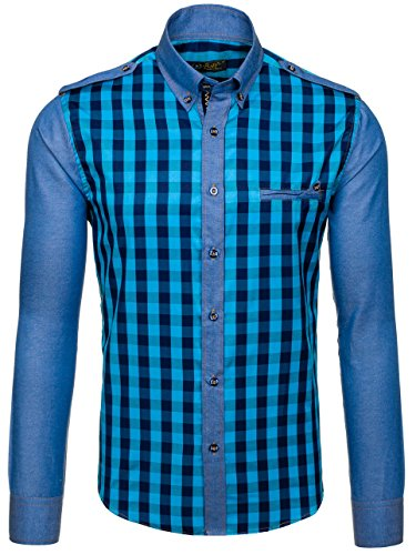 BOLF Herren Freizeithemd Herrenhemd Langarm Hemd Slim Fit Klassisch 2B2 Kariert Aquamarinblau