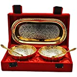 Choice Yourself Return Gift Silver And Gold Plated Brass Bowl And Tray Set Of 5 Pcs (22.606X12.7X6.35, Silver And Gold)