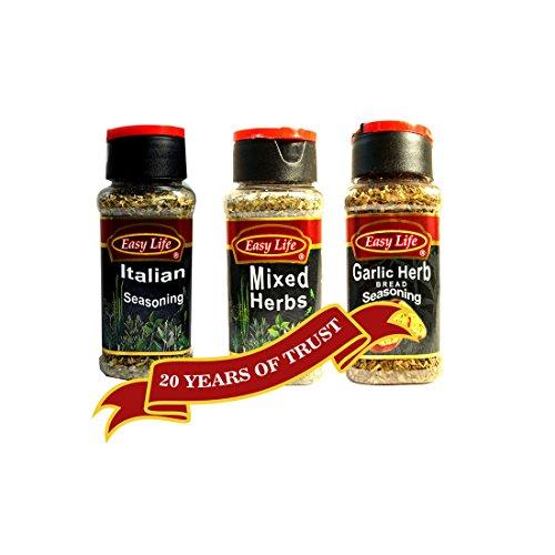 Easy Life Combo of Italian Seasoning, Mixed Herbs and Garlic Herb Bread Seasoning