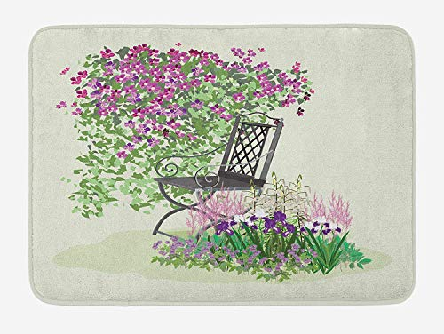t, Island for Relaxing in The Garden Among The Flowers Blooming Summer Day Artwork, Plush Bathroom Decor Mat with Non Slip Backing, 23.6 W X 15.7 W Inches, Purple Green ()