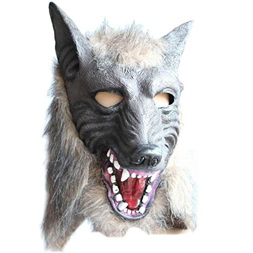 Vimbhzlvigour Echtes Creepy Latex Animal Wolf Kopf Maske für Halloween-Kostüm Cosplay Prop Multi