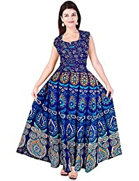 Silver Organisation Women's Jaipuri Print Cotton Long Dress with Sleeves Attached Inside and Back Strips (Free Size, Multicolour, SON_935)