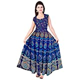 #4: Silver Organisation Women's Jaipuri Print Cotton Long Dress with Sleeves Attached Inside and Back Strips (Free Size, Multicolour, SON_935)