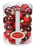 28 Christbaumkugeln Glas 3cm//Weihnachtskugeln Baumkugeln Baumschmuck Christbaumschmuck Weihnachtsdeko Kugeln Glaskugeln Spiegelbeeren Dose, Farbe: Bordeaux - Ochsenblut Glanz/Matt