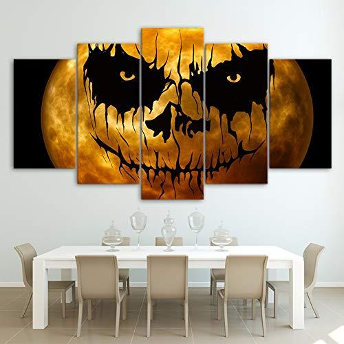 TYUPS Kunst Segeln HD Drucken 5 stück Segeltuch Malerei Halloween Kürbis Plakate Wandkunst Bilder zum Wohnzimmer Zuhause Dekoration,A,30X40X2+30X60X2+30X80X1