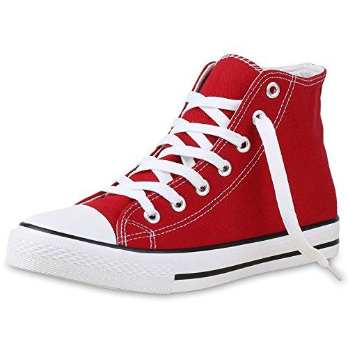 SCARPE VITA Herren High Top Sneakers Sportschuhe Stoffschuhe Freizeit Rot Weiss 41 (High Sneaker Sportschuhe Top)