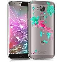 kwmobile Funda para Huawei G8 / GX8 - Case para móvil en TPU silicona - Cover trasero Diseño Manchas de carpa koi en turquesa rosa fucsia transparente