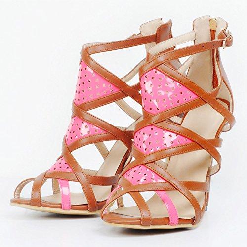 Kolnoo Femmes 11cm de haut talon ouvert Toe Shoes Roman Vintage Cut-out Zipper Stiletto Party Prom Sandals brown